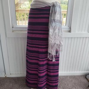 Blue and pink striped maxi skirt by Crown and Ivy
